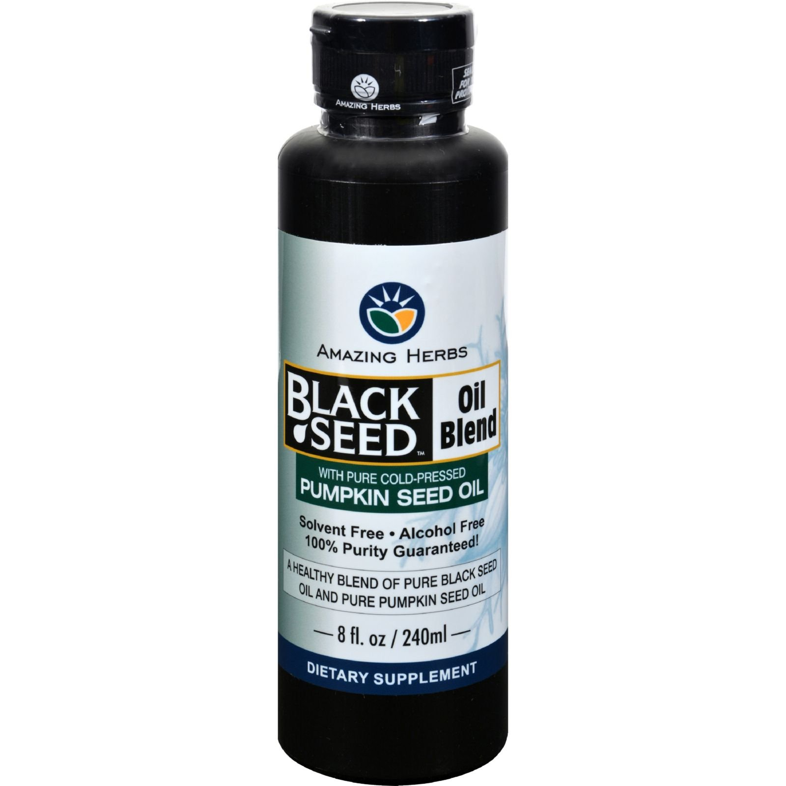 Amazing Herbs Black Seed Oil Blend - Styrian Pumpkin Seed - Excellent for Prostate Health - With EFAs and Nutrients for a Healthy Lifestyle - 8 oz (Pack of 3)