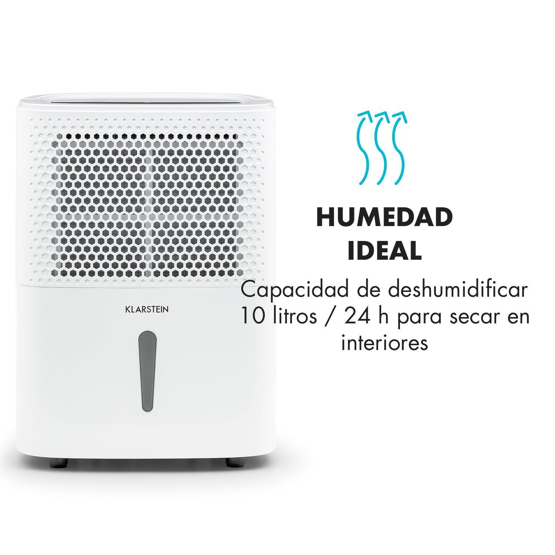 Klarstein DryFy 10 Deshumidificador de Aire • Secado de ambientes Secos • 10 L/día • Humedad programable • 240 W • 10-12 m² • Silencioso • Depósito: 1,8 L ...