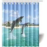 """InterestPrint Dolphin Waterproof Polyester Fabric 60""""(w) x 72""""(h) Shower Curtain and Hooks"""