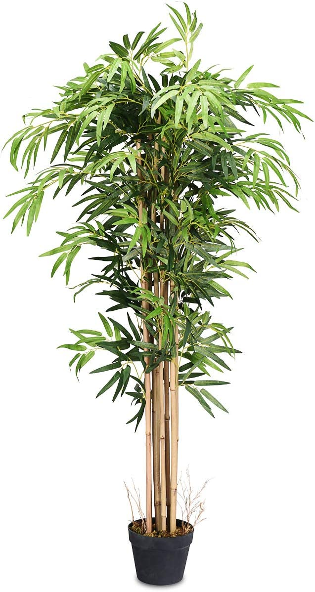 Amazon Com Goplus Fake Bamboo Tree Artificial Greenery Plants In