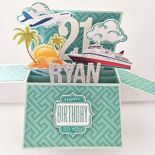 Amazon NAME Age Personalised Birthday Card Handmade Travel