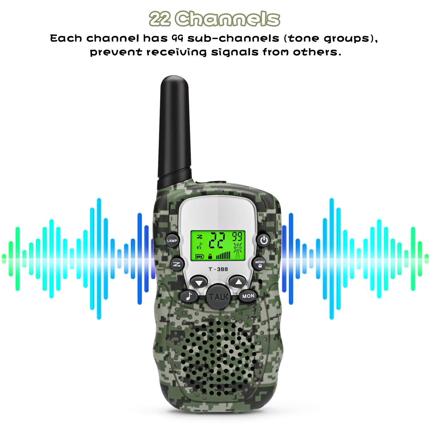 Zhenhao Walkie Talkies for Kids 3 Packs - 22 Channels Two Way Radio 3 Miles Long Range Outdoor Toys with 3 Earpieces and 3 Lanyards for Boys Girls by Zhenhao (Image #3)