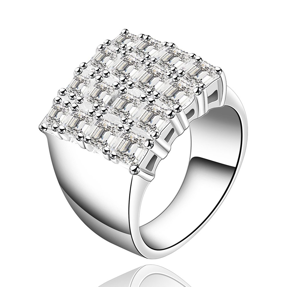 SunIfSnow Luxury Upscale Fashion Models Inlay Cystal Bling Wide Zircon Ring 7