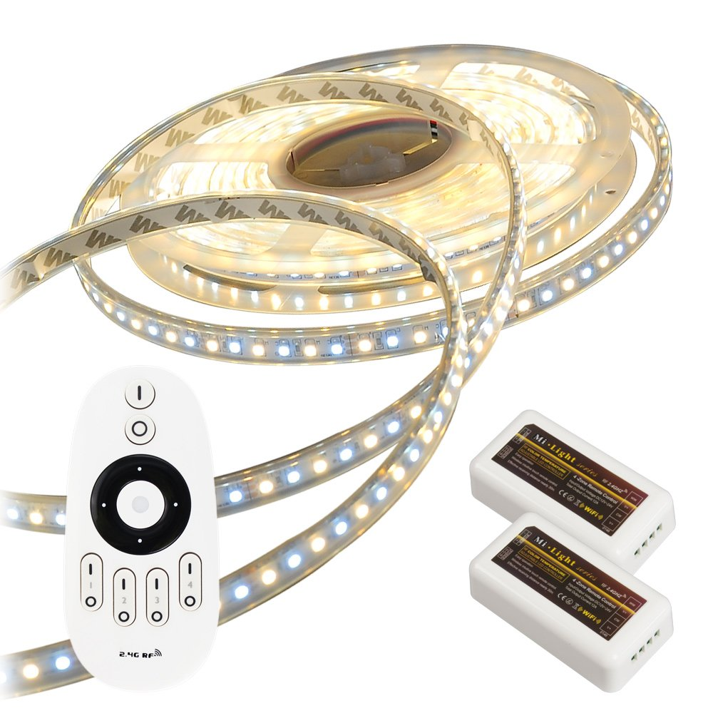 LEDテープライト LED テープ 10m防水 調色可能 調光可能 リモコン操作 (GT-SET3528CT-10M-4A-CTN2)100V wifi 2.4g ダプター SMD3528 LEDテープライト 正面発光 間接照明 led B00XBUCJW8