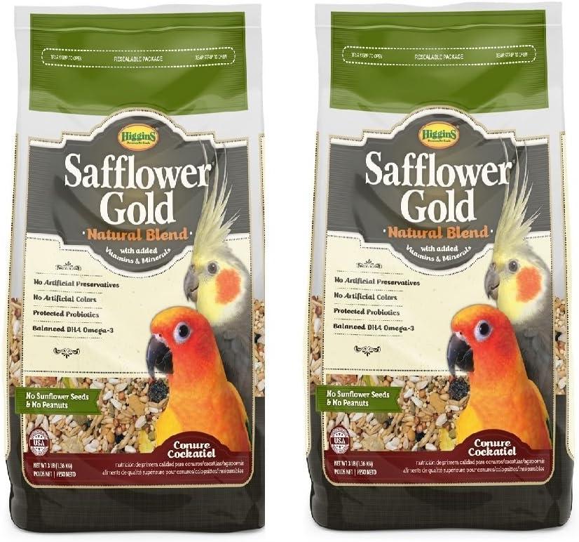 Higgins Safflower Gold Natural Food Mix for Conures & Cockatiels - Pack of 2