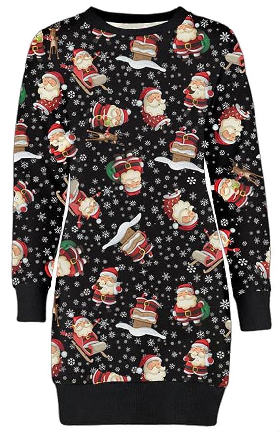 efc6ccce16a Chocolate Pickle ® Noël Femmes renne Imprimé à manches longues robe sweat-x  de masse cavalier 36-50  Amazon.fr  Vêtements et accessoires
