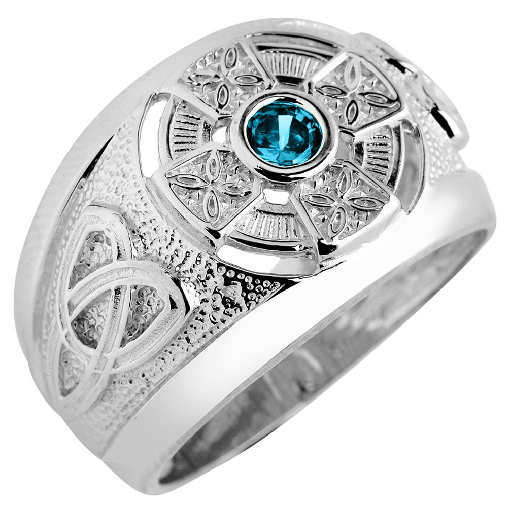 Solid 925 Sterling Silver Eternal Trinity Knot Band Blue CZ December Birthstone Celtic Cross Ring by Celtic Rings