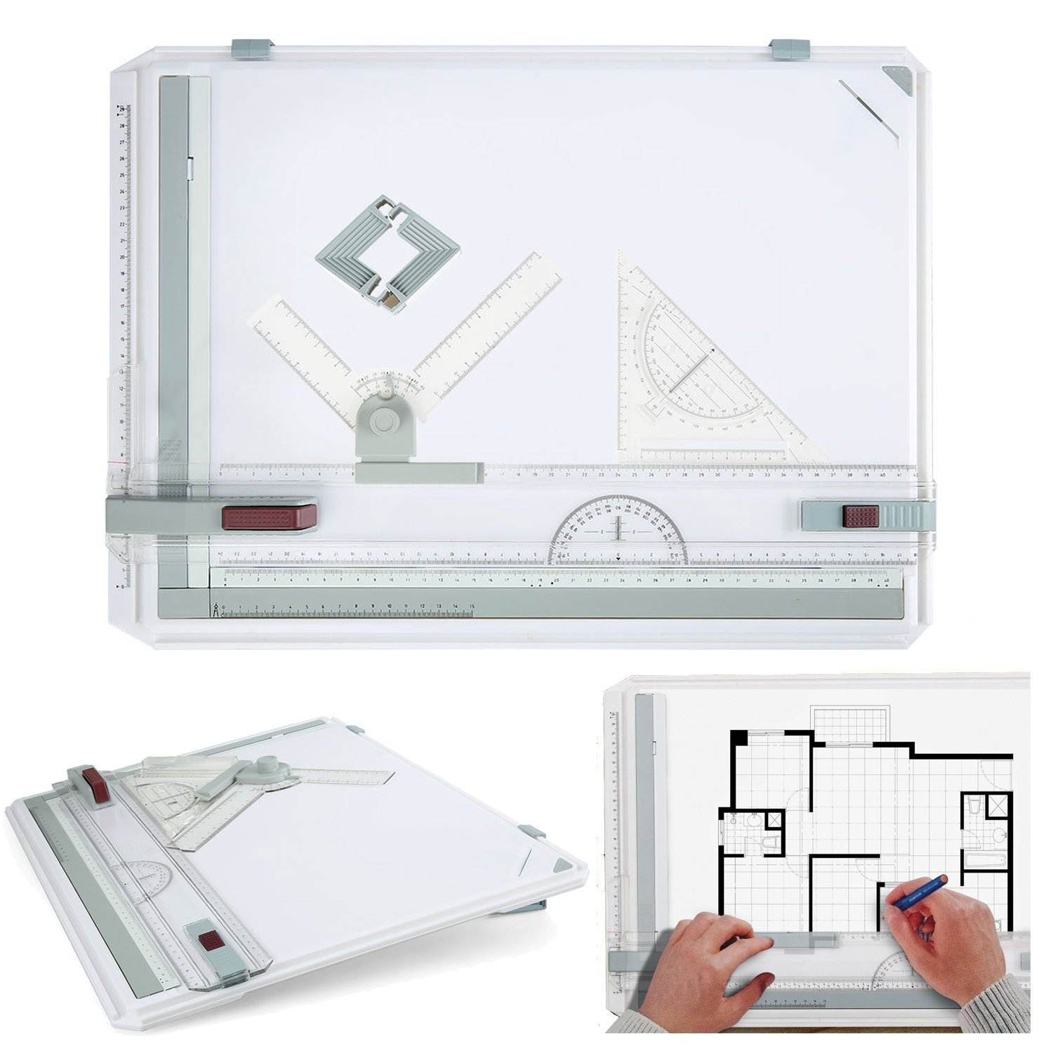 3 Drawing Table Board, Adjustable Measuring System Angle Parallel Motion Drawing Board Set by Leoneva
