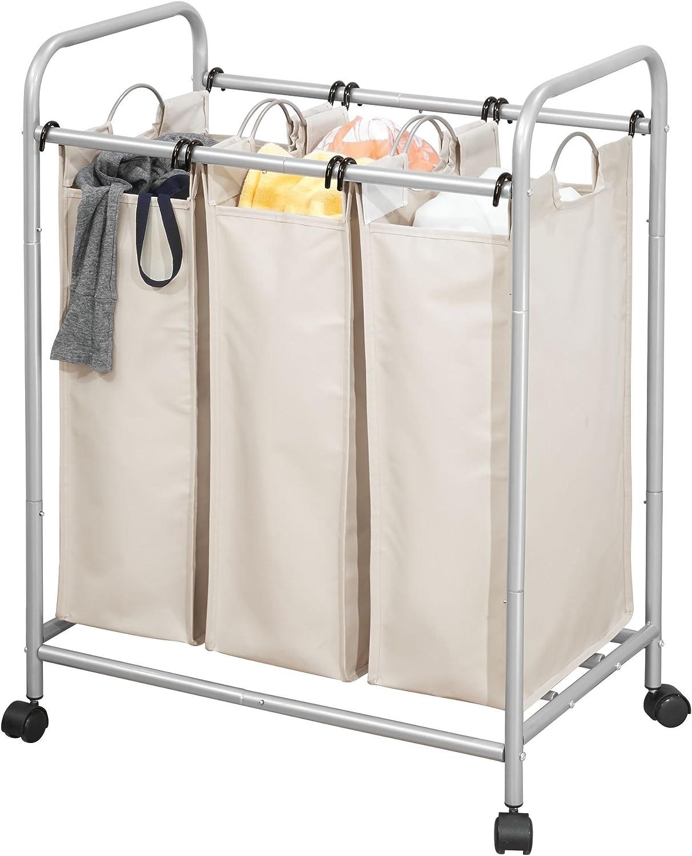 Panier à linge 3 compartiments sac à linge multibac-Trieuse salle de bain chambre 12257