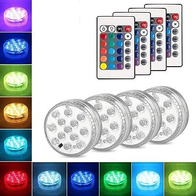 Danolt 4Pcs Nueva actualización luces sumergibles LED con control remoto Cambio de color de luz subacuática para base de florero, jacuzzi, tanque de peces, estanque, piscina, jardín, Hogar