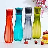 Steelo Flore Plastic Water Bottle, 1 Litre, Set of 4, Multicolour