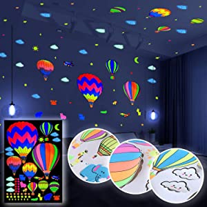 Tekware Girls Wall Decals, Glow in The Dark Hot Air Balloon, Planes and Clouds, Colorful Luminous Wall Stickers for Kids Bedroom Decoration, Birthday and Party (9 Luminous Colors)