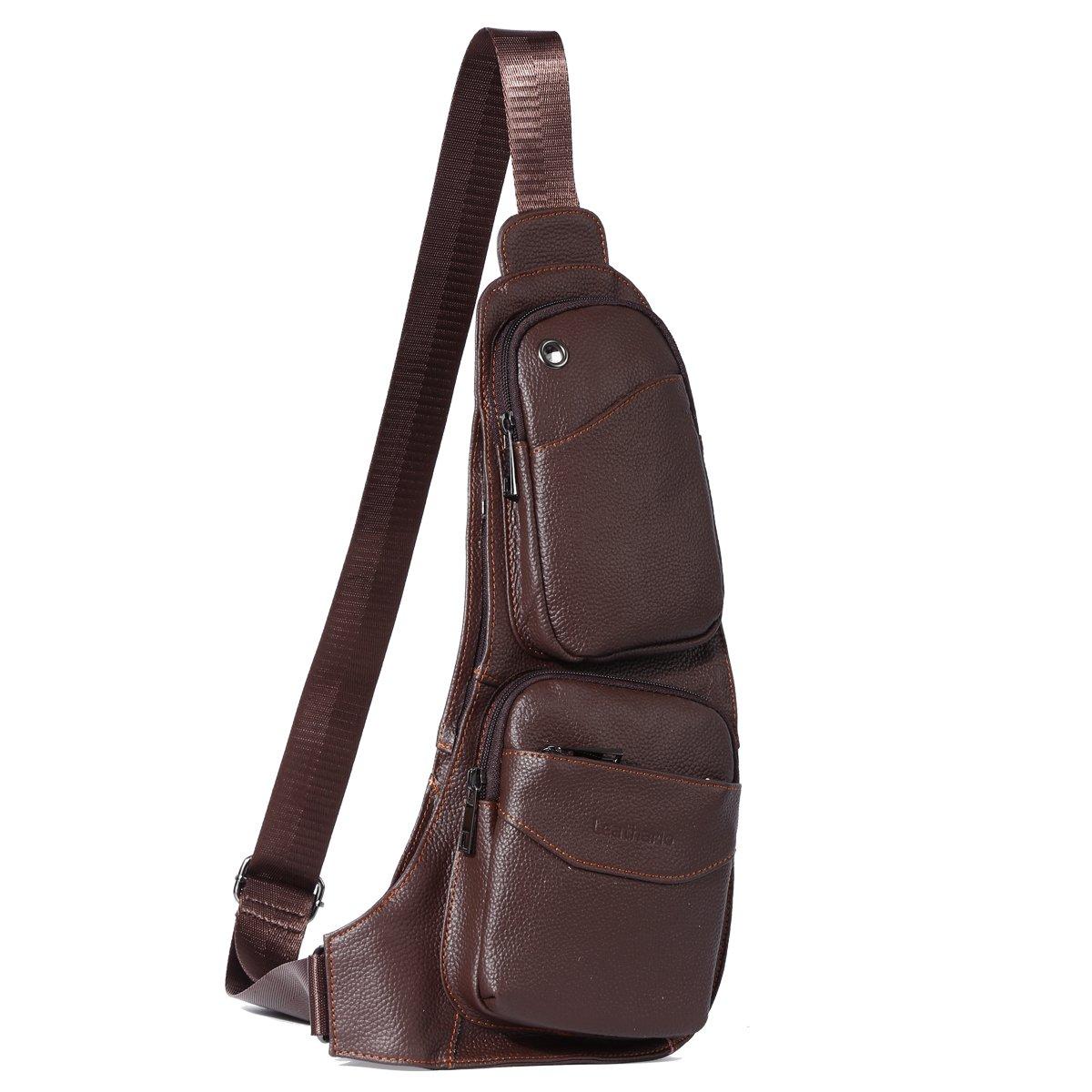Leathario bolso mochila de pecho piel cuero para hombres con La primera capa cuero de color marrón para diario o trabajo. LB2X010072
