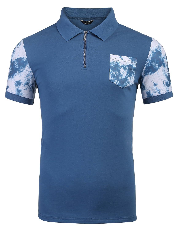 Coofandy Mens Casual Short Sleeve Polo Shirts Slim Fit Zipper Plaid