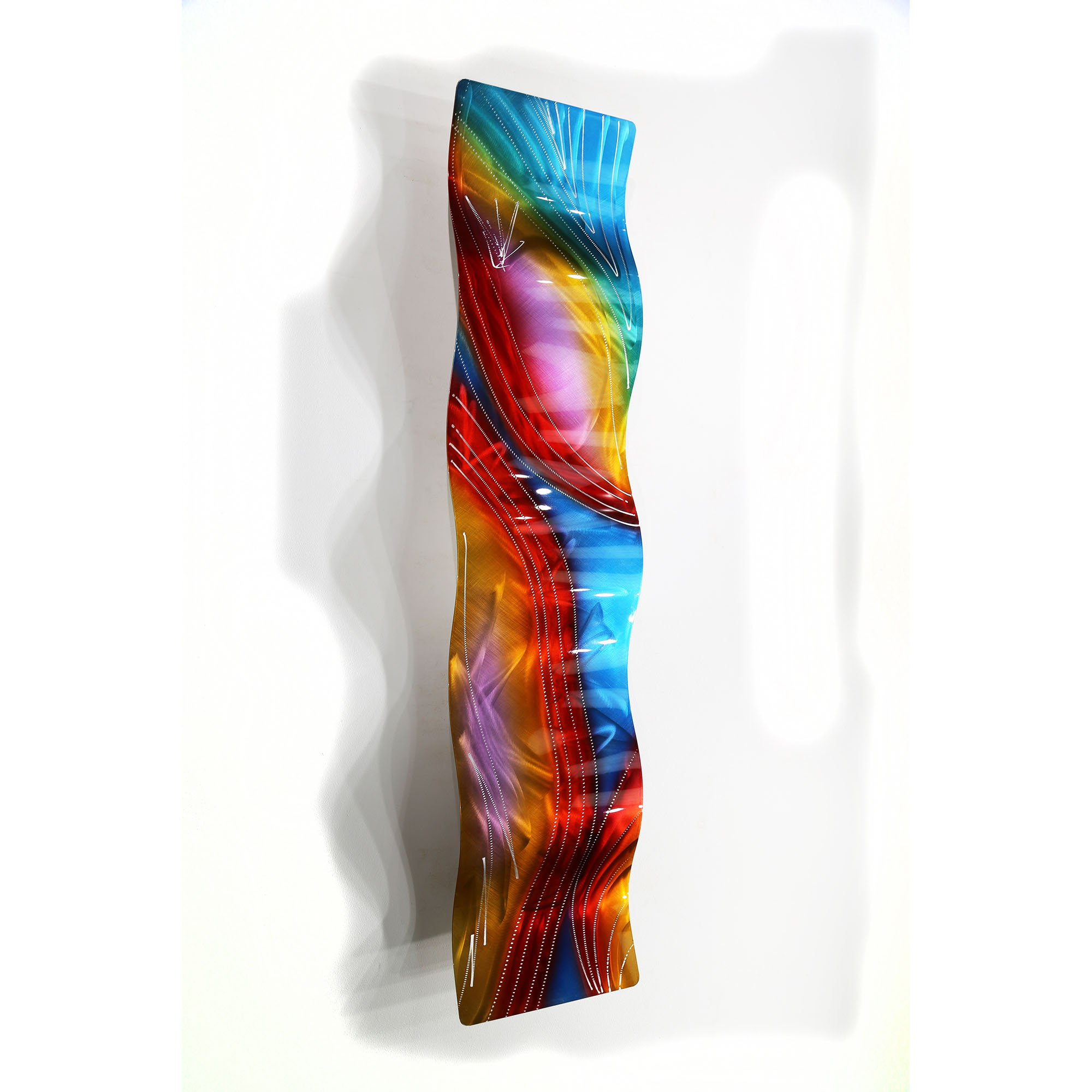 Statements2000 Multicolor Contemporary Metal Wall Art Sculpture, Abstract Wall Decor by Jon Allen Metal Art, Accumbent Wave, 46'' x 10''