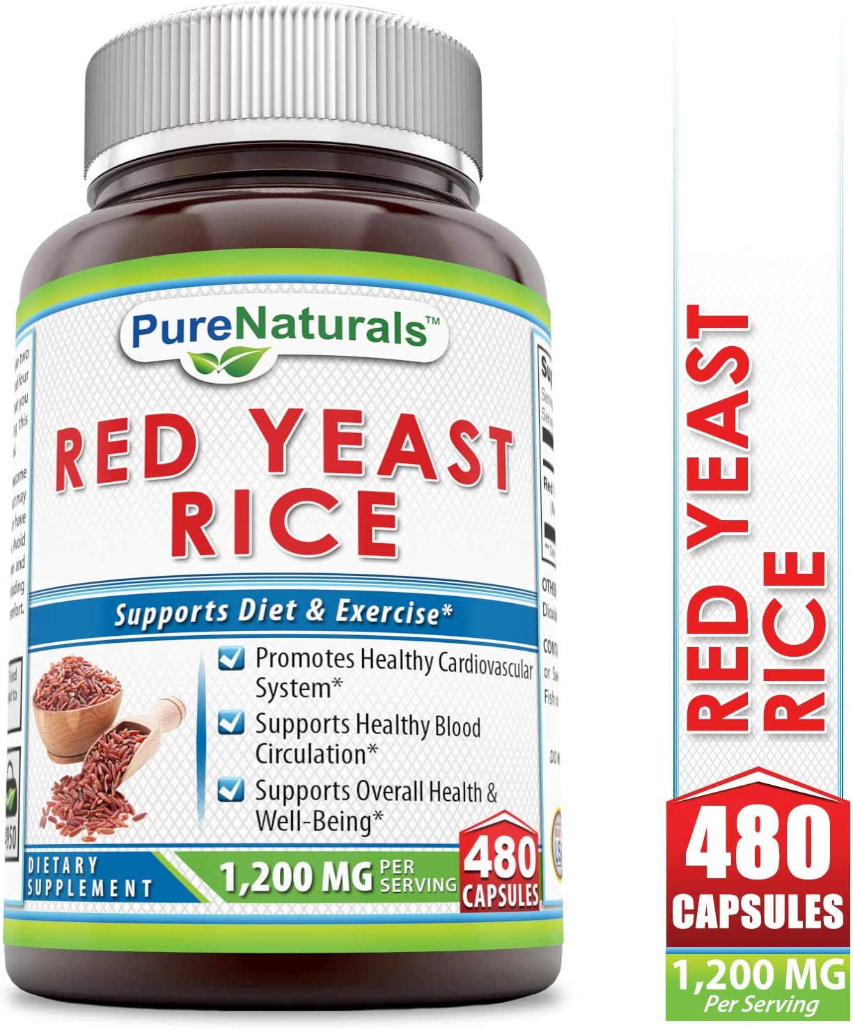 Pure Naturals Red Yeast Rice Dietary Supplement – 1200 mg of Best Quality Red Yeast Rice Powder Per Serving Supports Cardiovascular Health- 480 Capsules Per Bottle