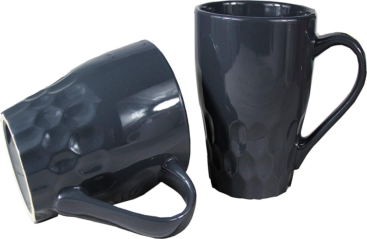 16oz Ceramic Coffee Mug Set of 2 Tea Cup for Office and Home with unique design (Gray)