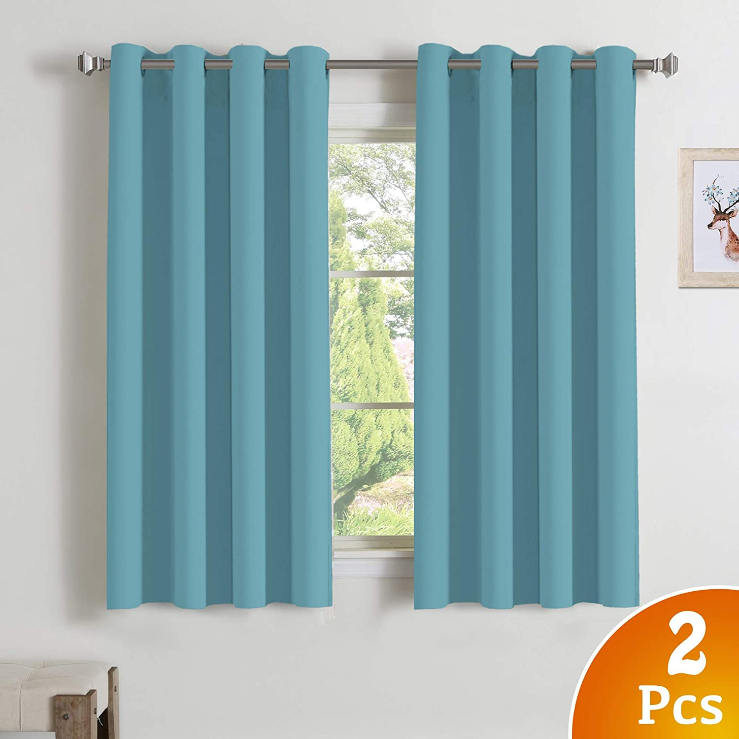 Blackout Aqua Curtains for Bedroom/Living Room Window Treatment Thermal Insulated Solid Grommet Blackout Curtains/Panels/Drapes for Bedroom Grommet Window Drapes 2 Panels, 52 x 63 Inch, Aqua