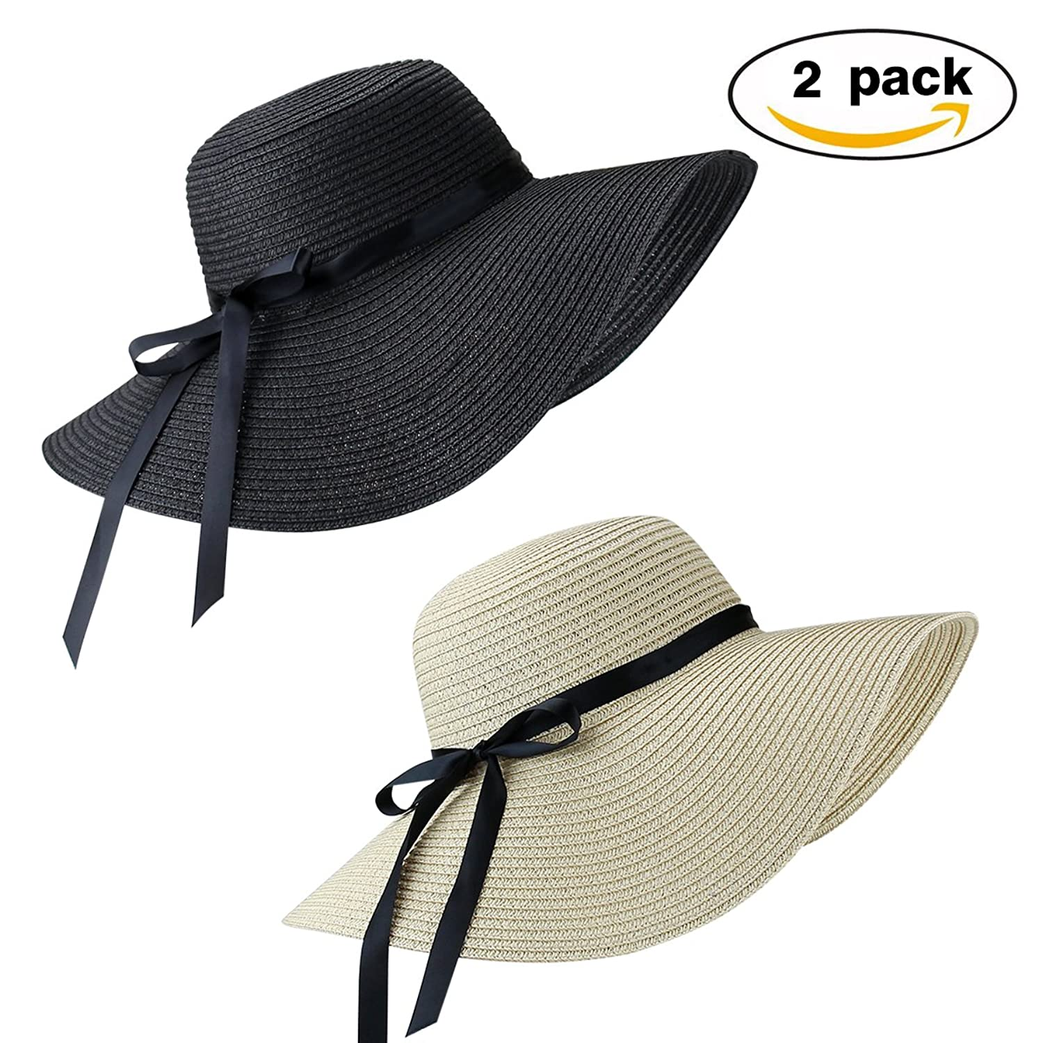 2 Pack Women's Sun Hat Foldable Large Wide Brim Straw Hat Summer Beach Cap UV Protection