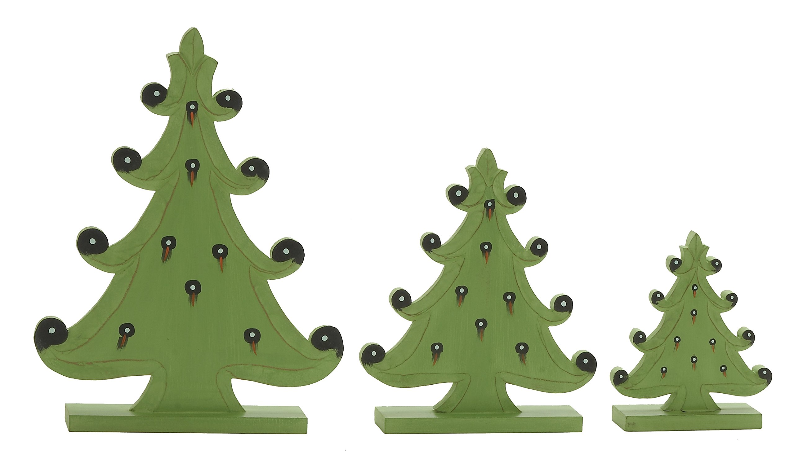 Plutus Brands Light Green Wood Christmas Tree (Set of 3), 9 by 12 by 17''