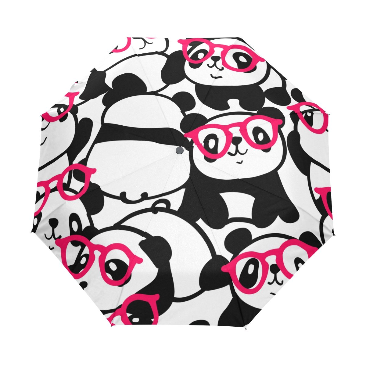 Naanle Cute Pandas in Pink Glasses Auto Open Close Foldable Windproof Travel Umbrella