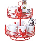Two Tier Red Country Rooster Lazy Susan