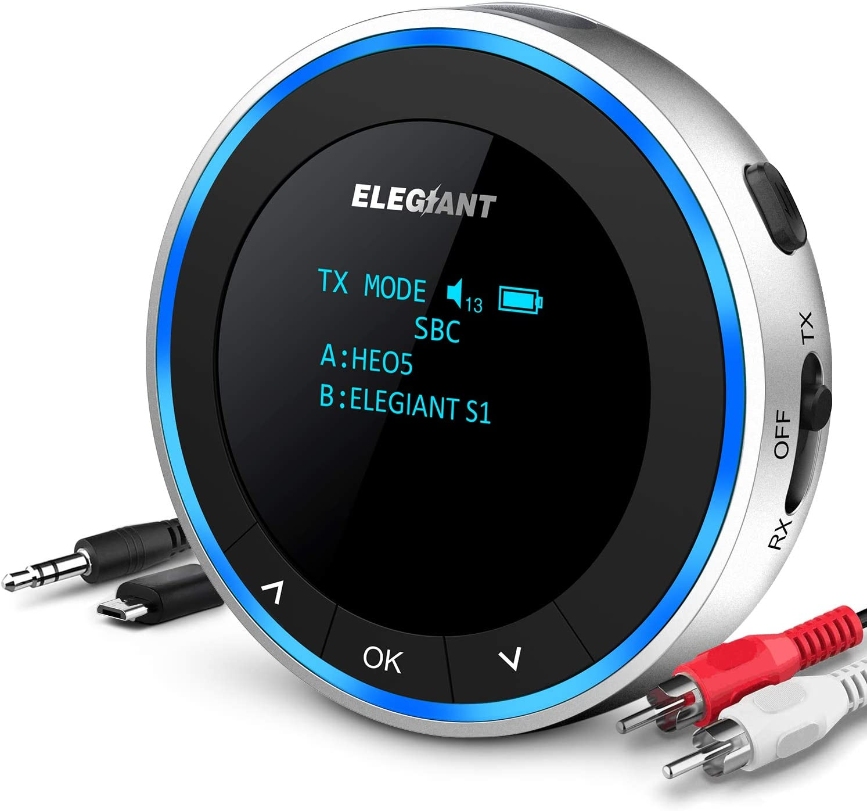 ELEGIANT Transmisor Bluetooth 5.1 para TV, Adaptador + Receptor Inalámbrico USB 2 en 1 de Baja Latencia Sonido HD AUX/RCA, Dual Enlace para Auricular Equipo Estéreo Altavoz Cascos: Amazon.es: Electrónica
