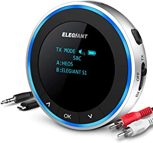 ELEGIANT Bluetooth 5.1 Transmitter Receiver, Wireless Audio Adapter Low Latency with OLED Screen Pair 2 Headphones at Once Volume Adjustable, 3.5mm AUX RCA for TV Home Stereo System
