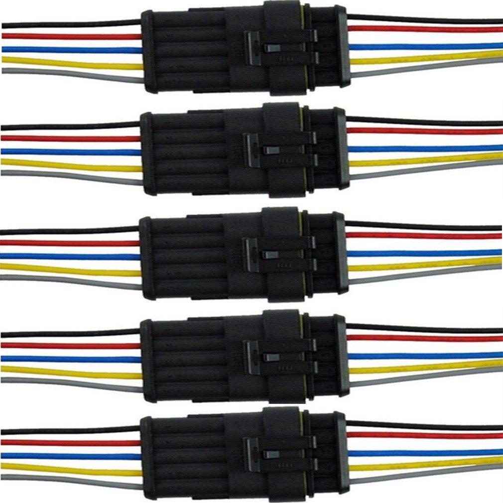 6/Pin Wege Auto Wasserdicht Elektrische Stecker Stecker mit Draht AWG Marine qiorange 5/Kit 1