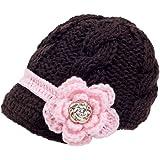 zefen Handknit Newborn Toddler Baby Girls Crochet Knit Brim Cap Hat