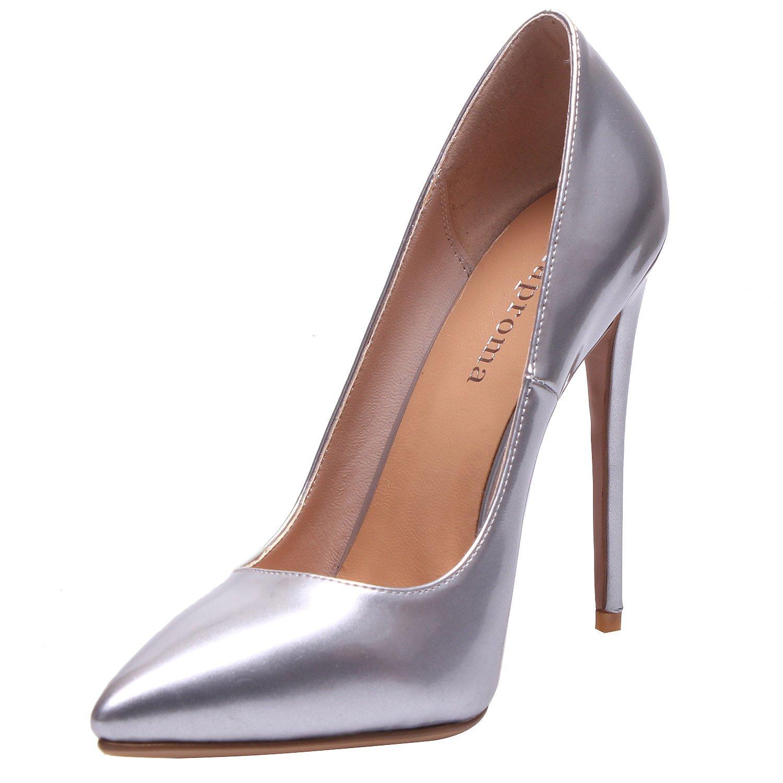 ZAPROMA Zapatos de Mujer de Tacón Alto Puntiagudo Punta Estrecha Bombas de Boda 4.5 B(M) US|Plateado