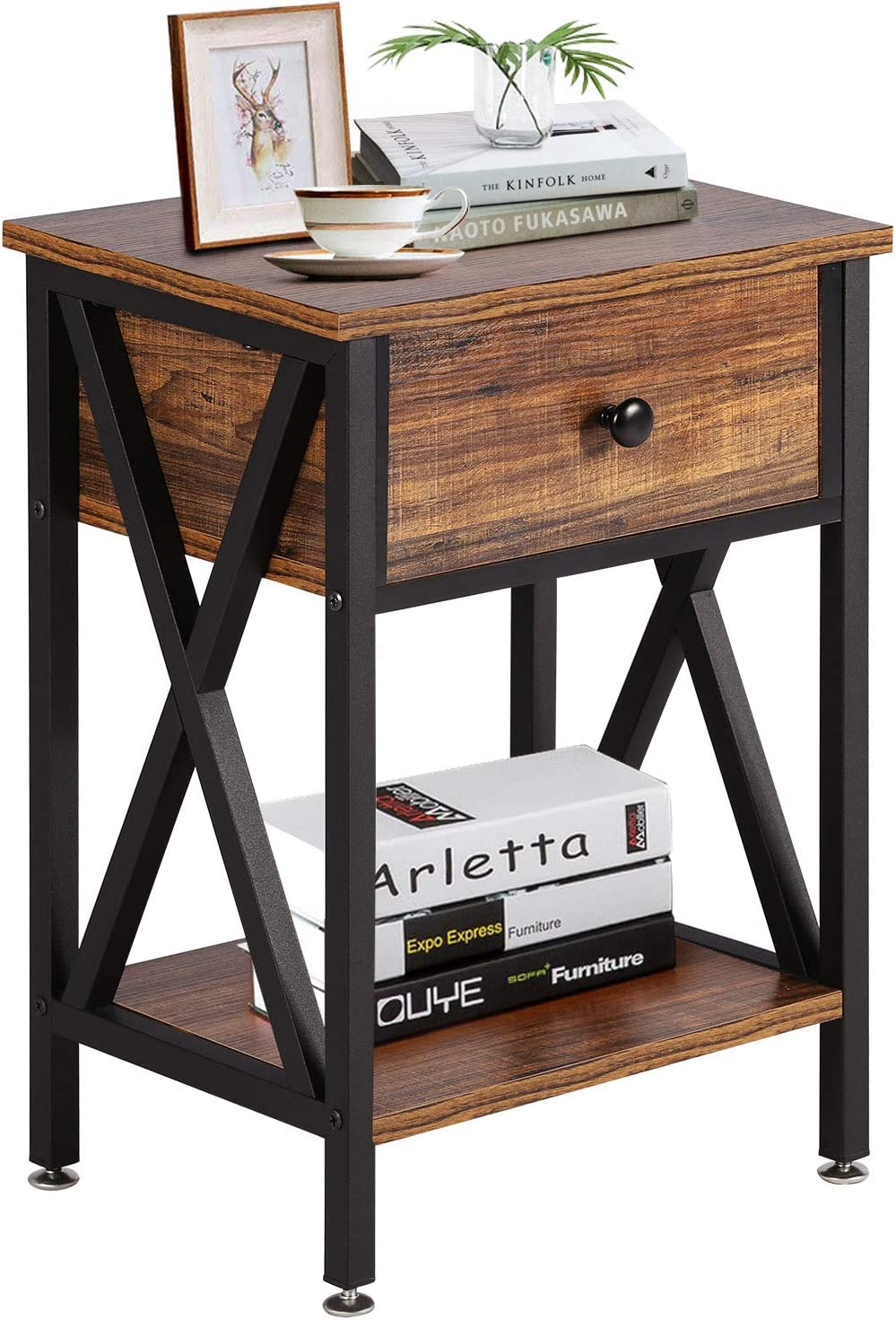 VECELO Modern Versatile Nightstands X-Design Side End Table Night Stand Storage Shelf with Bin Drawer for Living Room Bedroom, Brown+Black