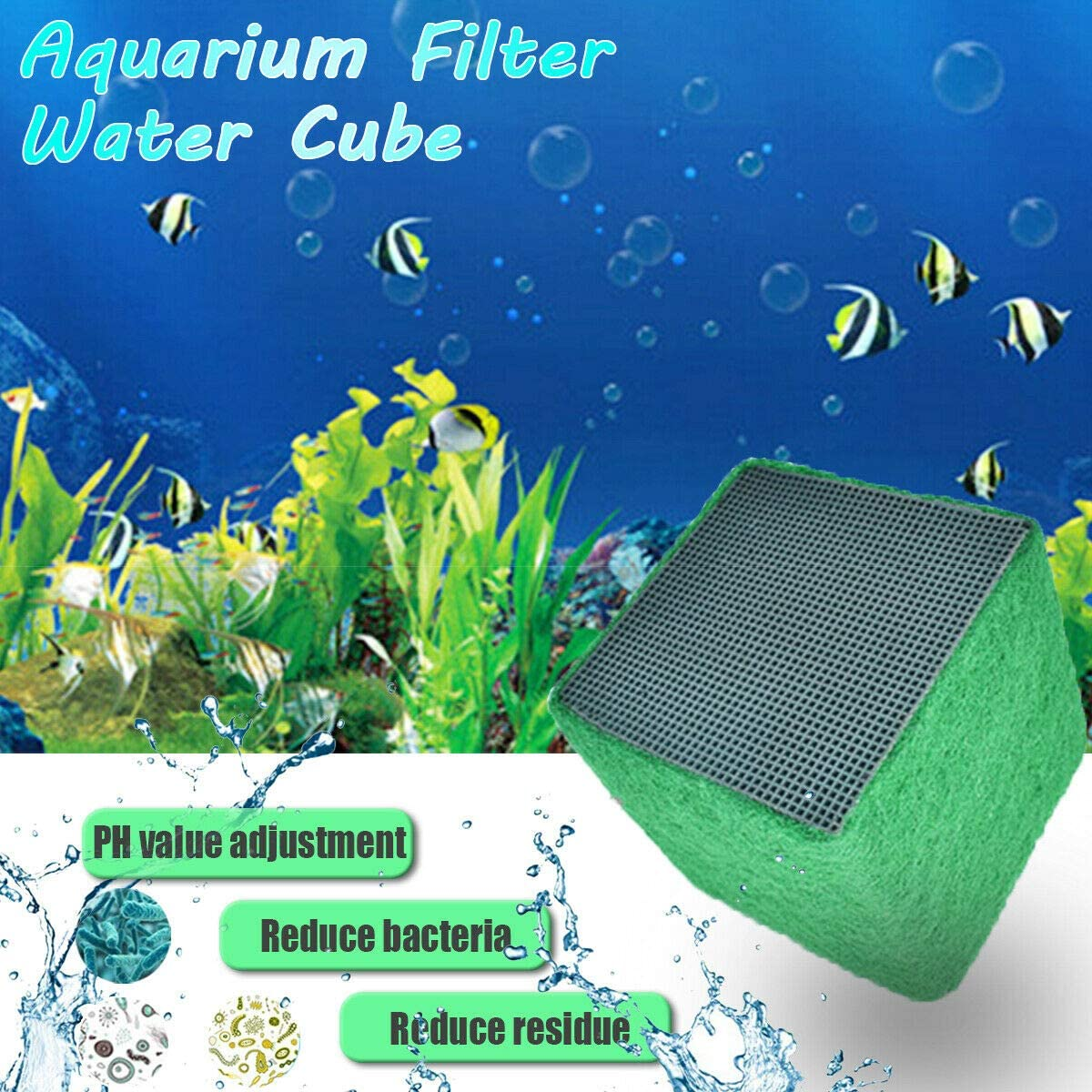 YWILLINK Water Purifier Eco-Aquarium Fish Tank Activated Carbon Clean Filter Cubes Multifunctional