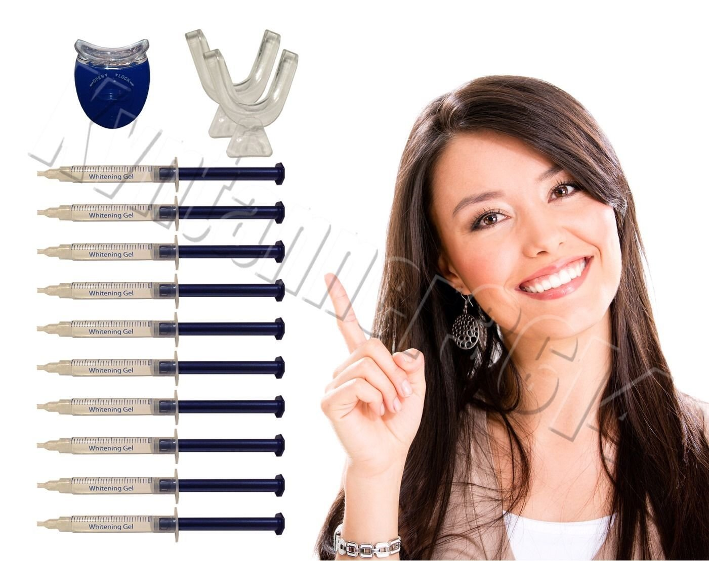 Extra Strength Teeth Whitening Kit; 12 Syringes of 44% Dentist Quality Tooth Whitener Gel and 2 Thermoforming Mouth Trays