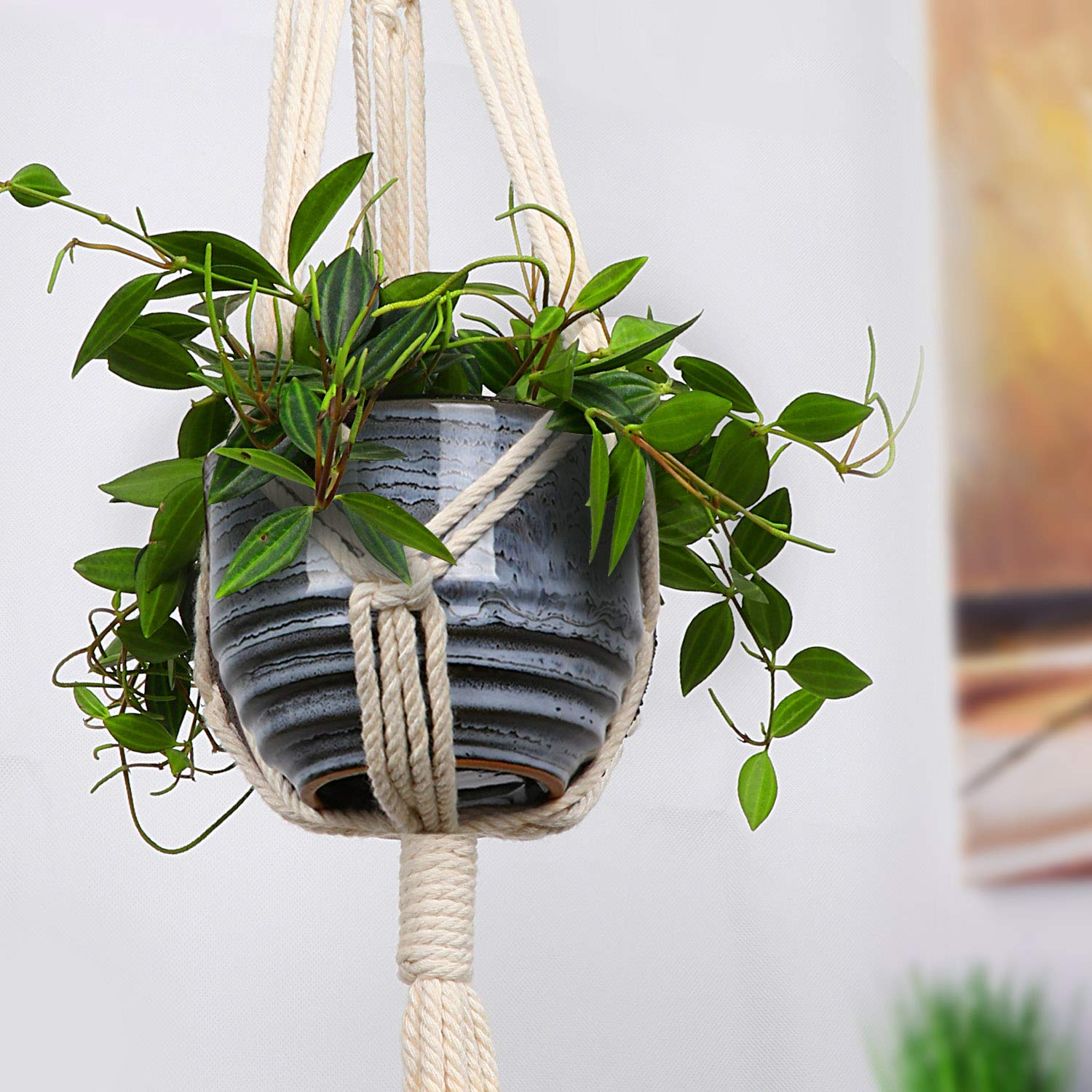 Macrame Plant Hangers - Hanging Plants Holder - Hanging Planters for House Indoor Outdoor Plants - Pots Hanger for Room Wall Planter - Handmade 100% Natural Cotton Rope 3 Legs 40 Inch, Boho Decor Chic