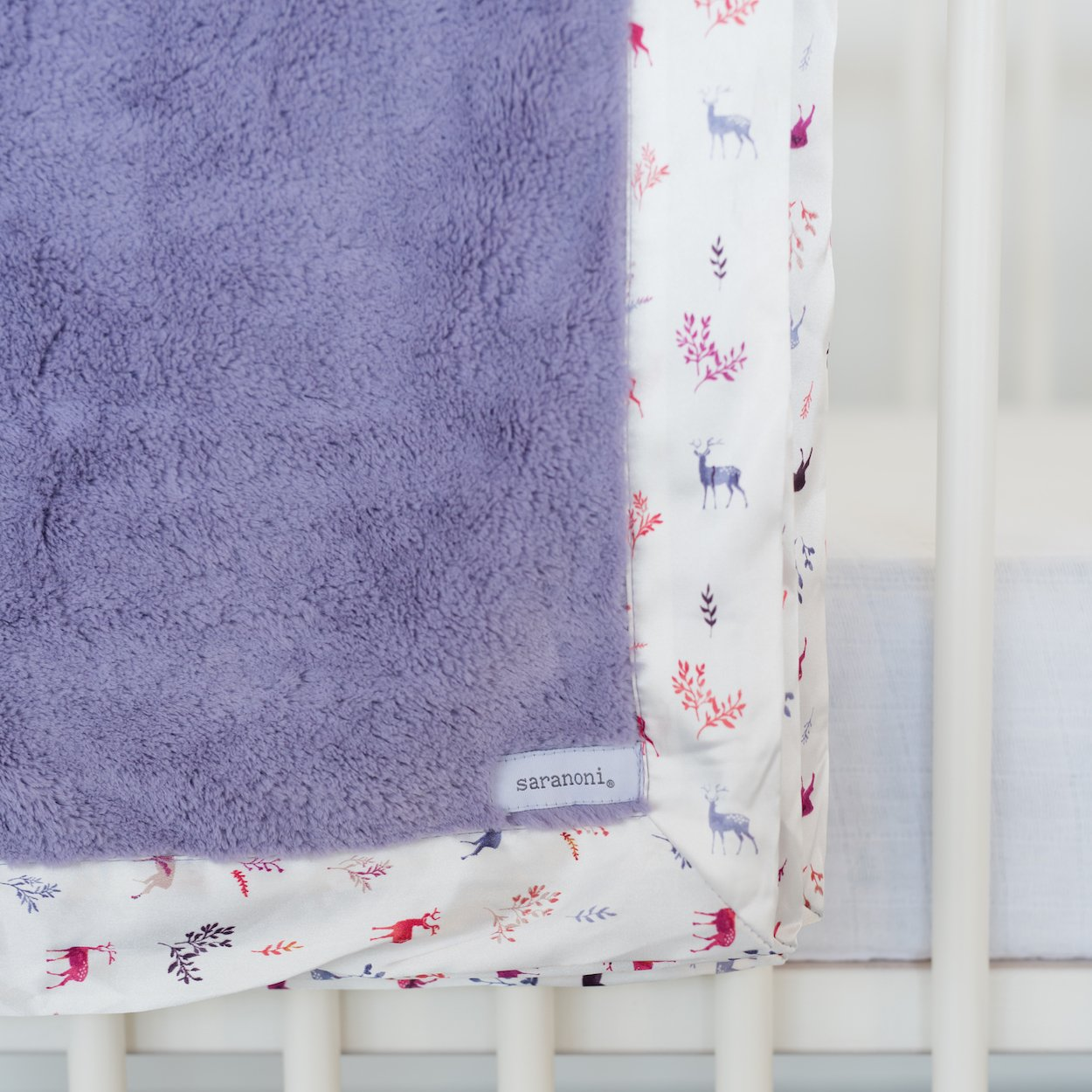 Saranoni Satin Border Receiving Blankets for Babies Super Soft Lush Luxury Baby Blanket (Lilac Lush Deer Satin Border, Receiving Blanket 30'' x 40'')
