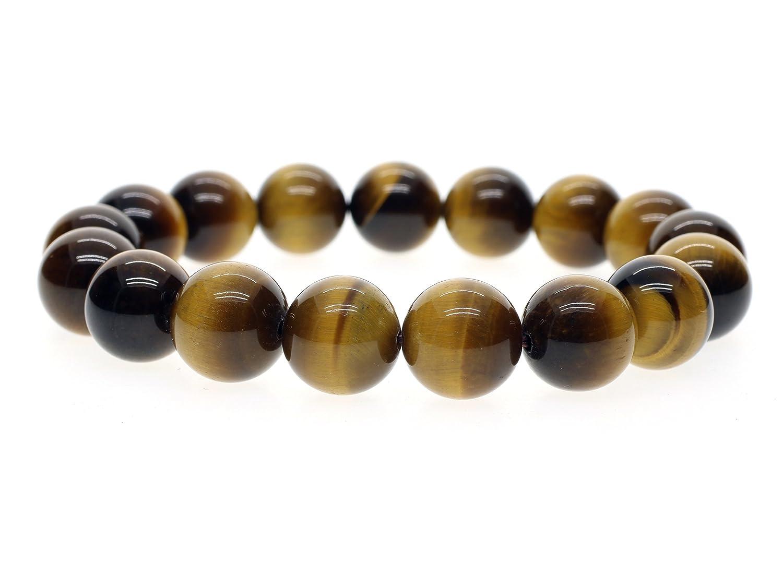 AmorWing Reiki Healing Brown Tiger Eye Stones Mala Beads Bracelet for Men and Women N341-2-AF