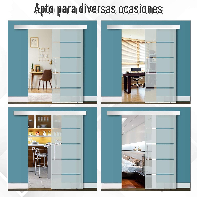 HOMCOM Puerta Corrediza de Vidrio Puerta Corredera Deslizante de Cristal Seguridad 77,5x205 cm: Amazon.es: Bricolaje y herramientas