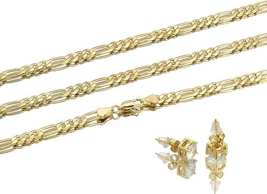 24 inch gold tone chain Unisex gold tone chain interlocking closure figaro chain