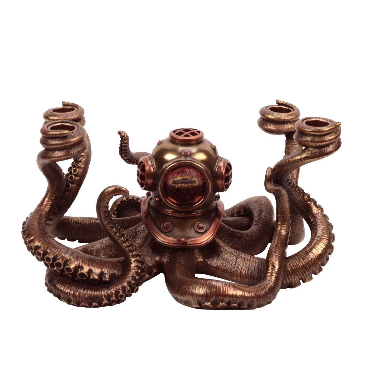 Bronze Nautical Steampunk Octopus Dive Helmet Candle Holder