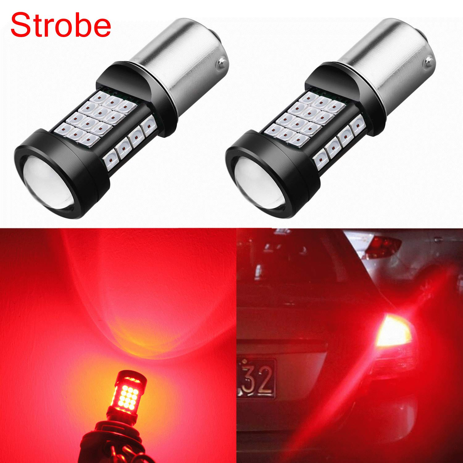Alla Lighting 3800lm 7440 7443 White LED Strobe Brake Lights Bulbs Xtreme Super Bright T20 7441 7444 7443 LED Bulb High Power 3030 SMD 6000K Xenon LED for Car Truck Flashing Brake Stop Tail Light