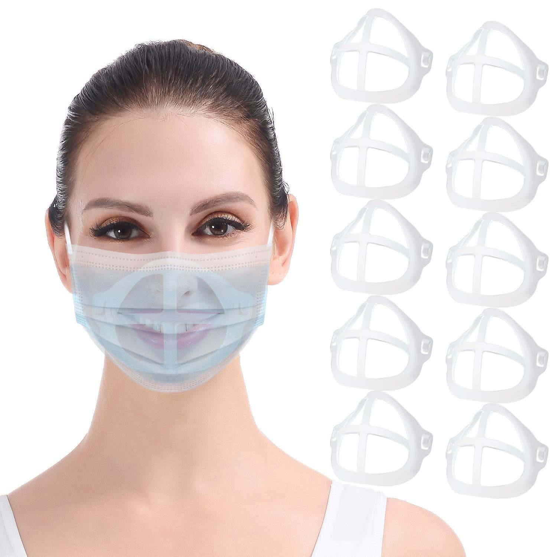 Soporte 3D para mascarilla 10PCS Máscara transparente Marco de soporte interno Mantenga la tela fuera de la boca para crear más espacio para una cómoda protección del lápiz labial de respiración