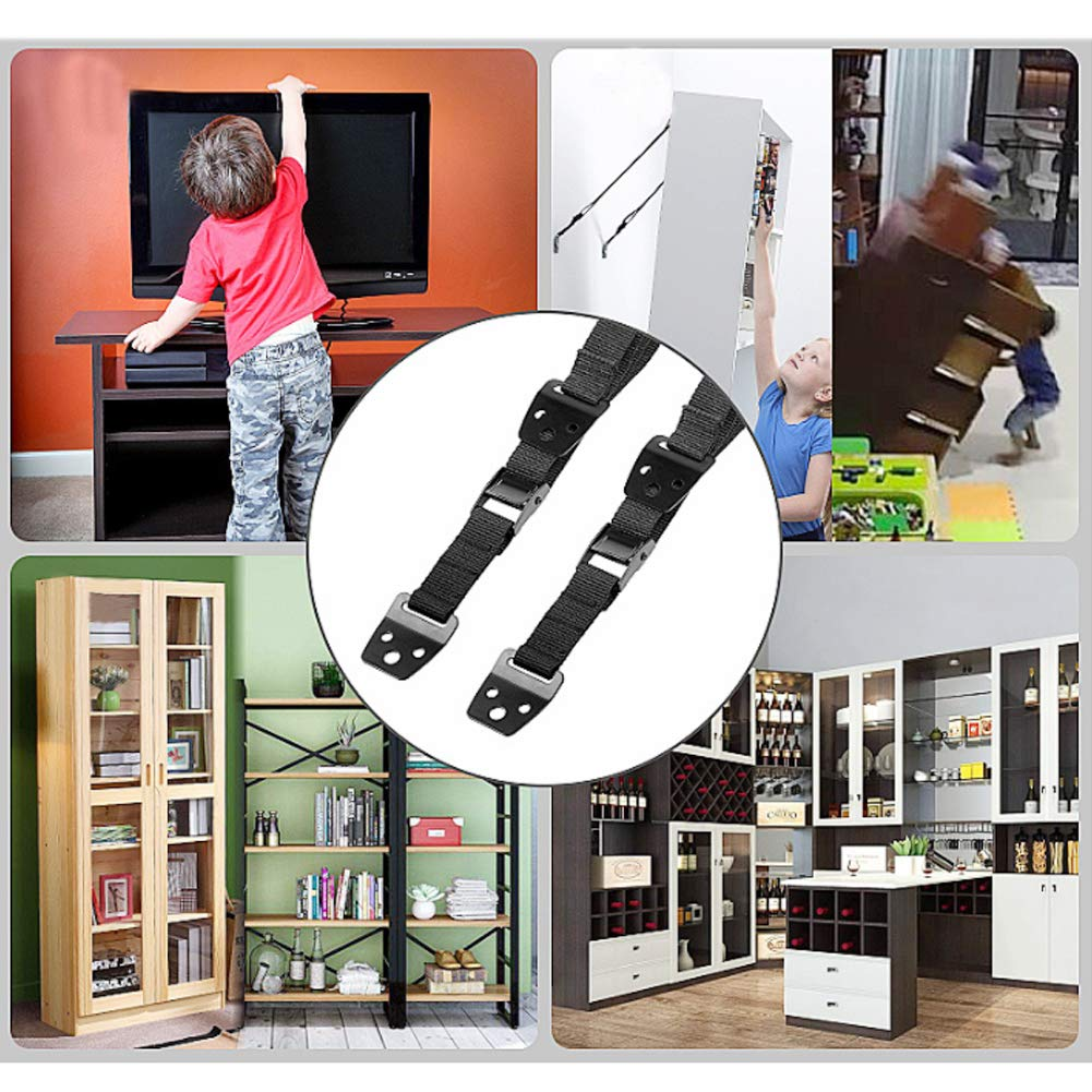 Ruiting Universal TV Safety Strap Kit Adjustable Anti Tip Furniture Strap with Accessories Heavy Duty TV Safety Belt