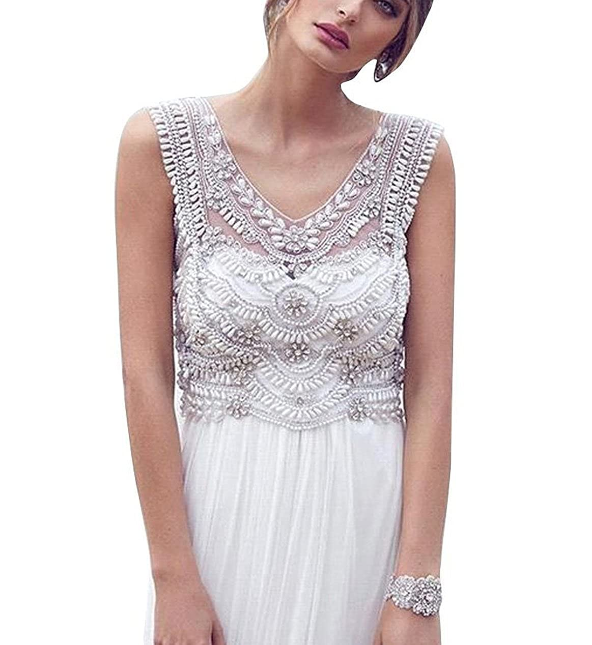 e2f7585bed2f7 Fanciest Women's Boho Wedding Dresses 2017 Chiffon Beach Wedding Dress  US26W at Amazon Women's Clothing store: