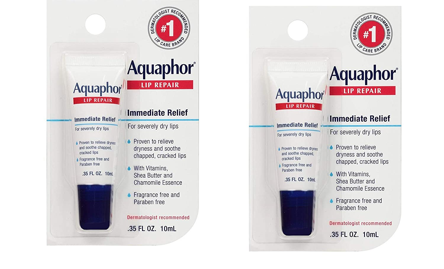 Aquaphor Lip Repair Ointment - Long-lasting Moisture to Soothe Dry Chapped Lips - .35 fl. oz Tube, 2 Pack