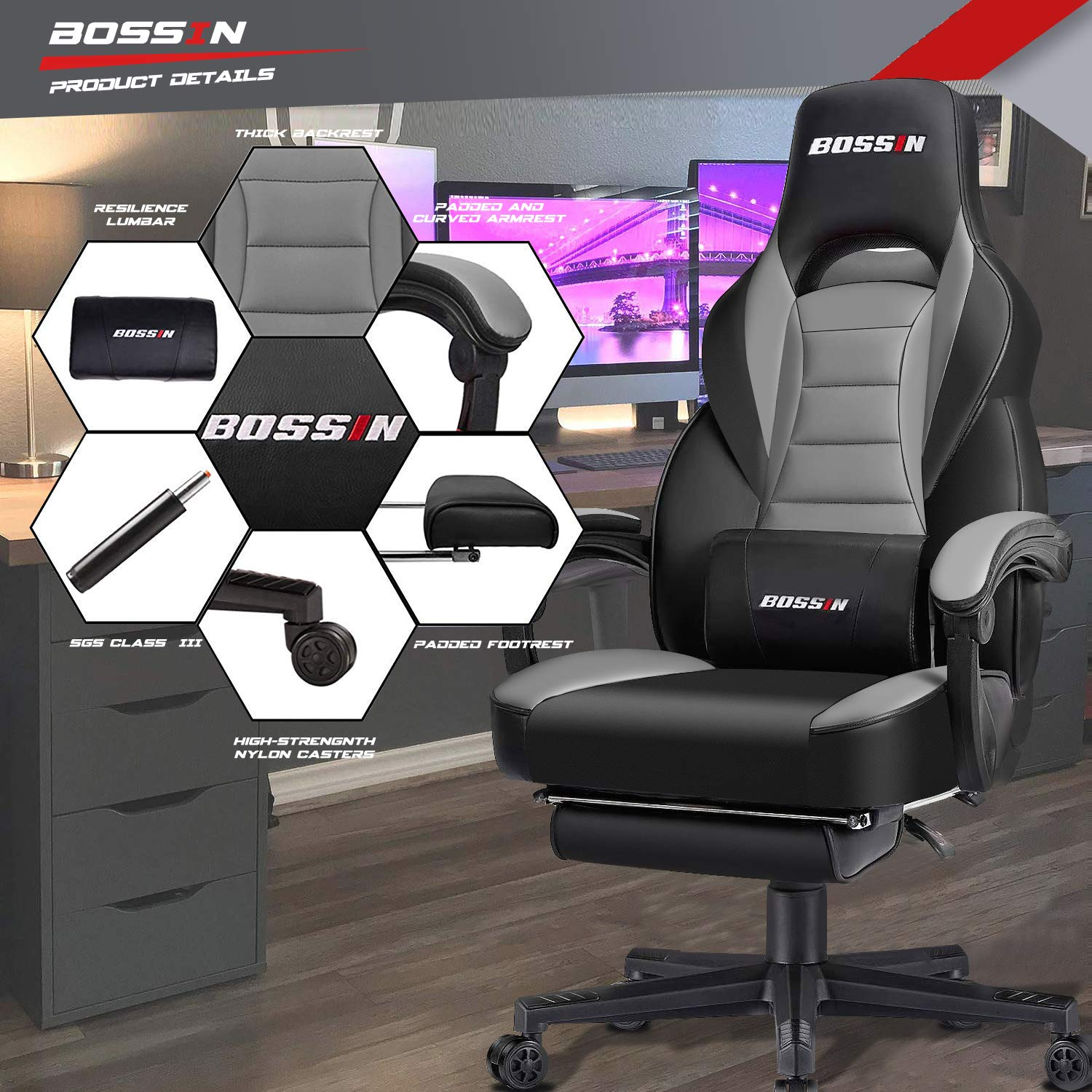 BOSSIN Gaming Chair Office Computer Desk Chair with Footrest and Headrest Racing Game Ergonomic Design Large Size High-Back E-Sports Chair PU Leather Swivel Chair Gray