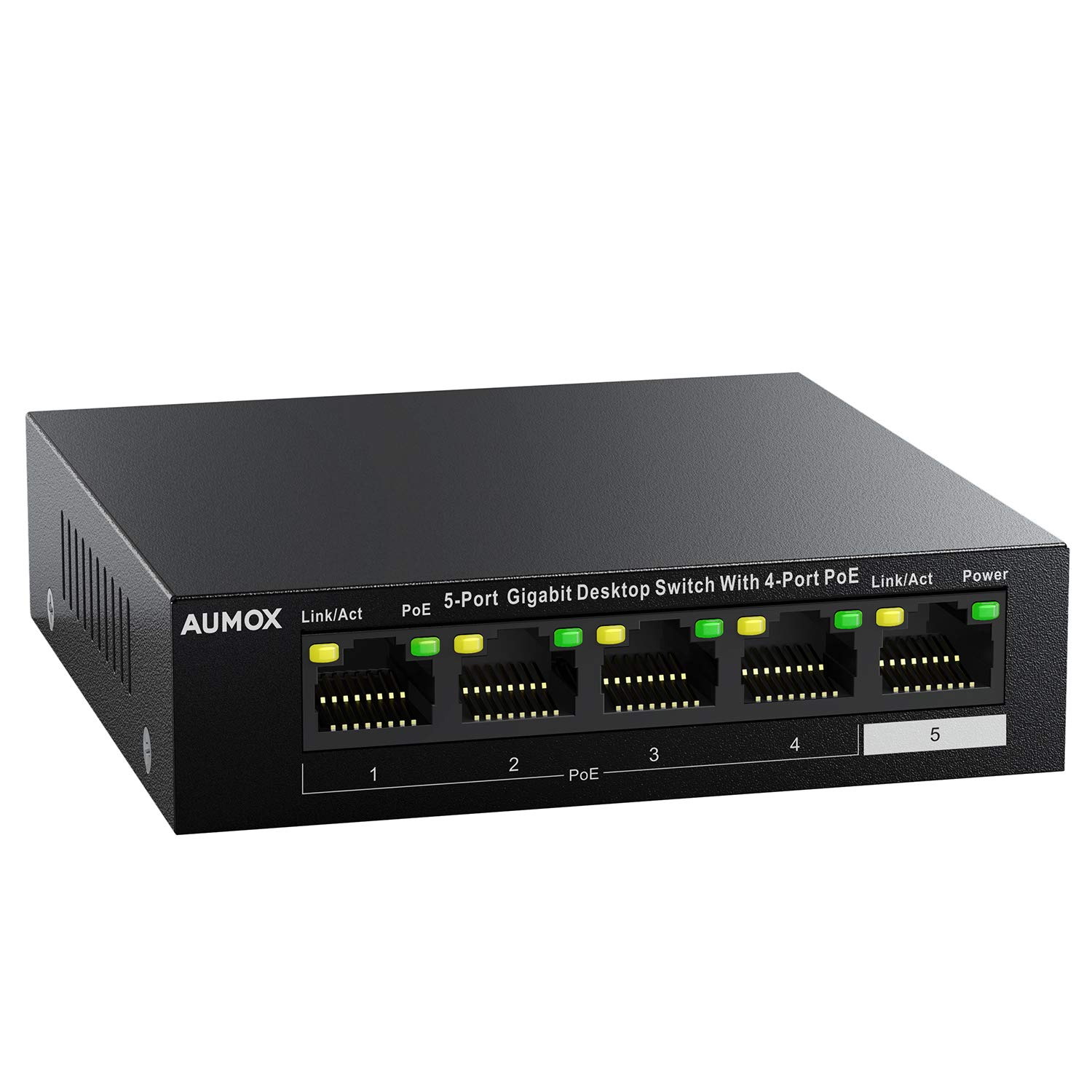 Aumox 5 Port Gigabit Ethernet PoE Switch, 4 Port PoE 58W, Unmanaged, Durable Metal Casing, Desktop, Traffic Optimization, Fanless, Plug and Play (SG105POE)