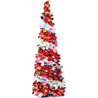 TURNMEON 5 Feet Tinsel Christmas Tree with 50 Color Lights, Pop up Pre-lit Christmas Tree Battery Operated 2 Modes…