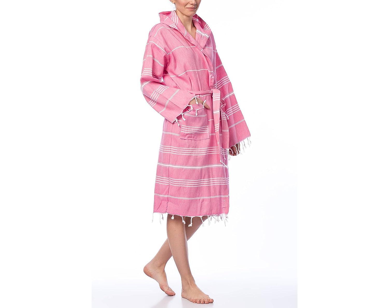 Fringe Towels Hooded Turkish Peshtemal Bathrobe Unisex 100% Cotton - Made in Turkey