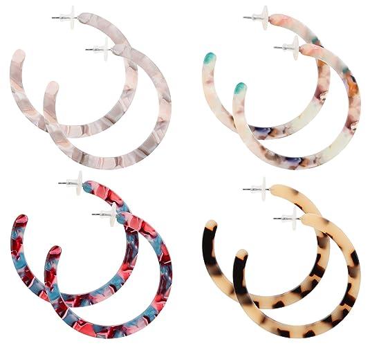 Finrezio 4 Pairs Mottled Acrylic Hoop Earrings for Women Circle Hoop Stud Earrings Set Bohemian Statement Earrings Fashion Jewelry
